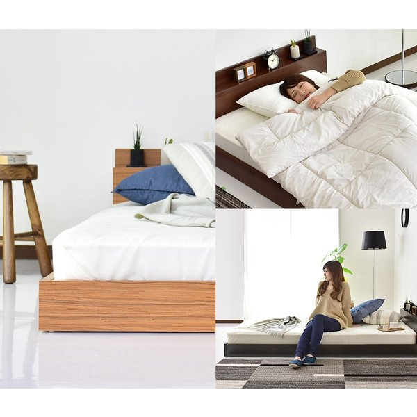 ベッド ベット ローベッド ベット フロアベッド ベット シングルサイズ 棚 コンセント付き シングルサイズ シングル newアトラスS 北欧|grazia-doris|02