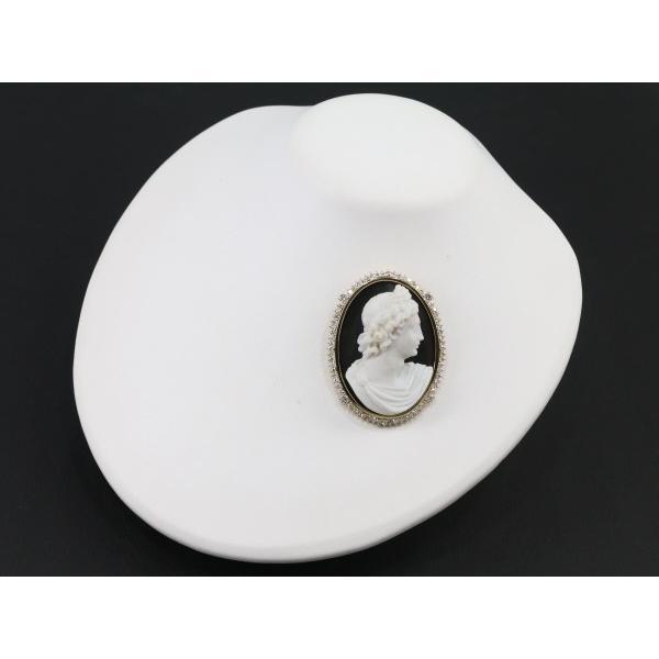 カメオ ブローチ兼ペンダントトップ ダイヤ ダイヤモンド 2.285ct メノウ 男性の横顔 K18YG  GENJ