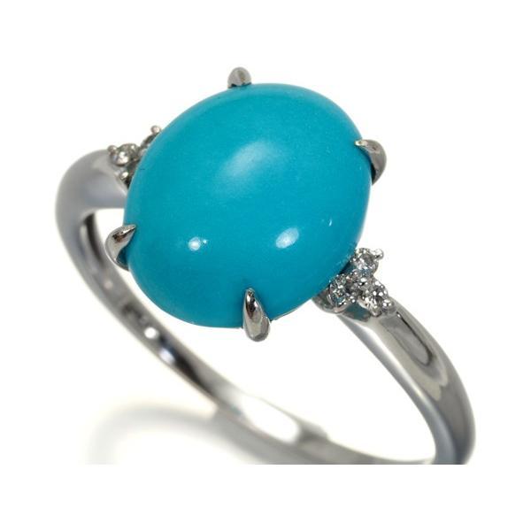 ターコイズ トルコ石 4.00ct ダイヤ 指輪 K18WG ソーティングメモ GENJ|greeber01|02