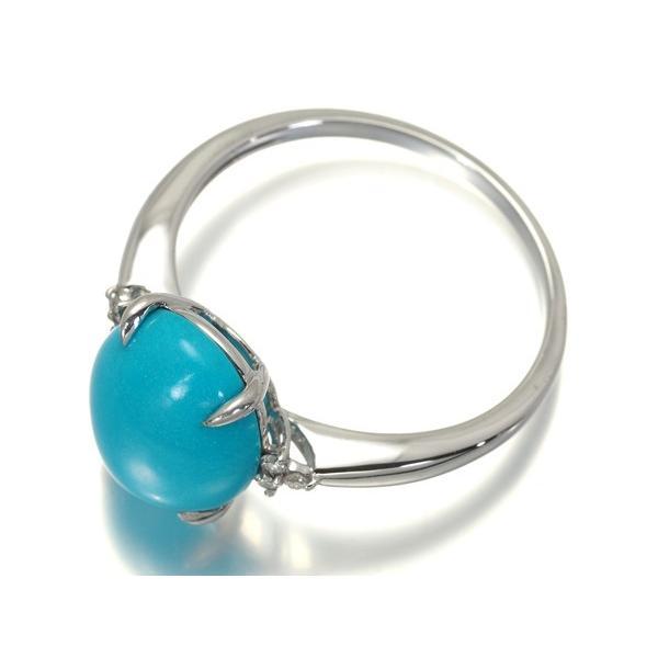 ターコイズ トルコ石 4.00ct ダイヤ 指輪 K18WG ソーティングメモ GENJ|greeber01|03