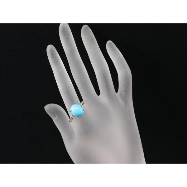 ターコイズ トルコ石 4.00ct ダイヤ 指輪 K18WG ソーティングメモ GENJ|greeber01|04