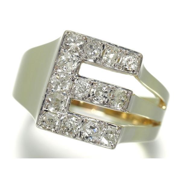 アンティークダイヤ ダイヤモンド イニシャル E リング 指輪 K14YG【中古】GENJ 超大幅値下げ品