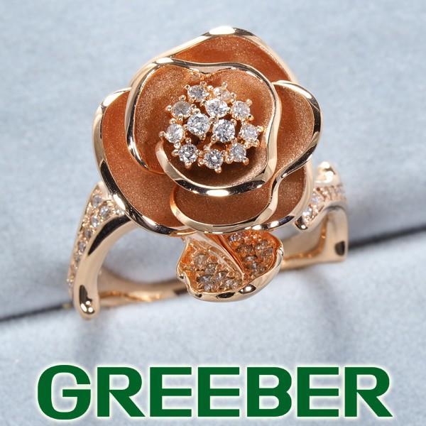 薔薇 バラ ダイヤ ダイヤモンド 0.29ct リング 指輪 K18PG GENJ