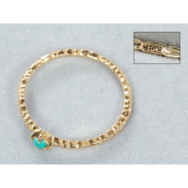 クロチェ リング 指輪 ターコイズ トルコ石  ピンキーリング 指輪 5号 K10YG BLJ/GENJ|greeber01|03