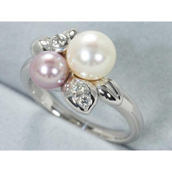 TASAKI タサキ リング 指輪 アコヤ真珠 パール ダイヤ ダイヤモンド 0.06ct Pt900/プラチナ 10号 BLJ/GENJ