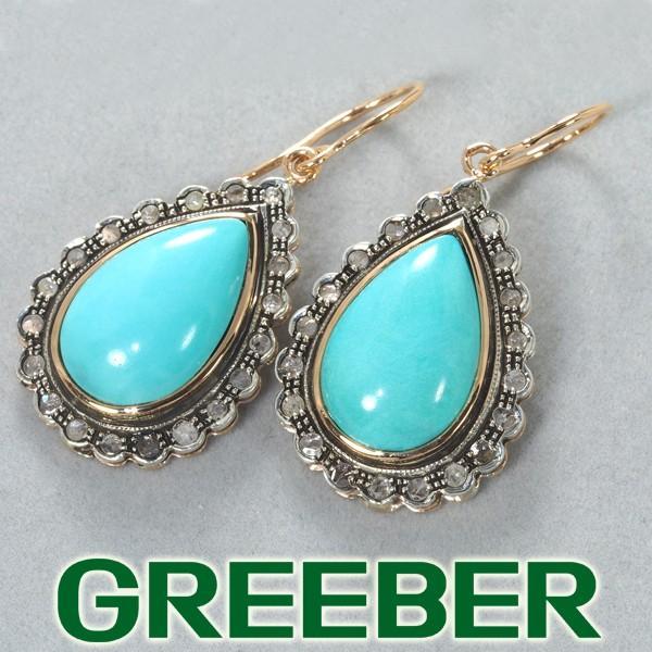 ターコイズ トルコ石 ダイヤ ダイヤモンド ピアス K14PG/シルバー GENJ|greeber01