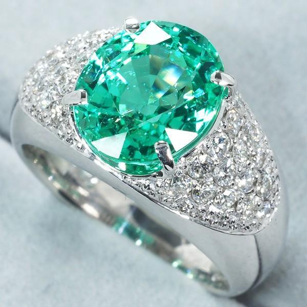 希少大粒!パライバトルマリン 4.12ct ダイヤ ダイヤモンド 0.62ct リング 指輪 K18WG 鑑別書/分析報告書 GENJ