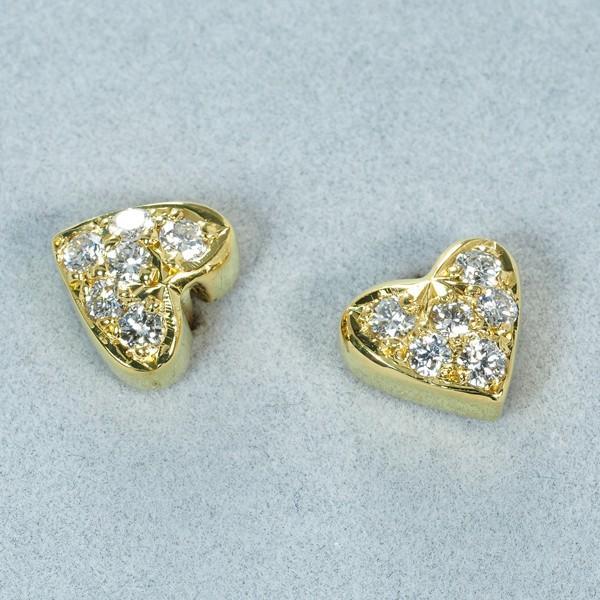 モニッケンダム ピアス ダイヤ ダイヤモンド 0.135ct/0.135ct ハート K18YG 箱/保証書 BLJ/GENJ