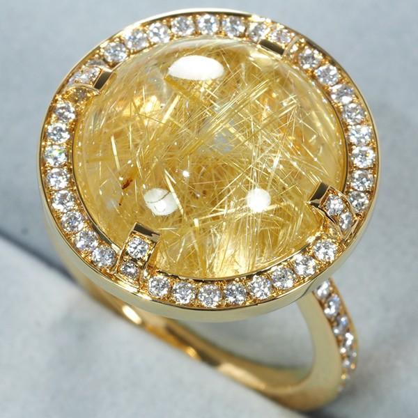 ショーメ リング 指輪 ルチルクォーツ ダイヤ ダイヤモンド 51号 K18YG 箱 BLJ