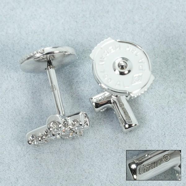 カルティエ ピアス ダイヤ ダイヤモンド クロス K18WG 箱 BLJ