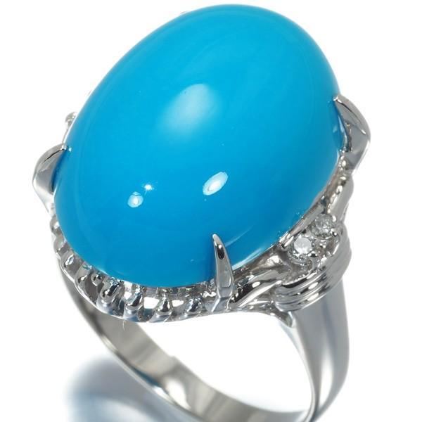 大粒 ターコイズ トルコ石 ダイヤ ダイヤモンド リング 指輪 Pt900/プラチナ ソーティング GENJ|greeber01|02