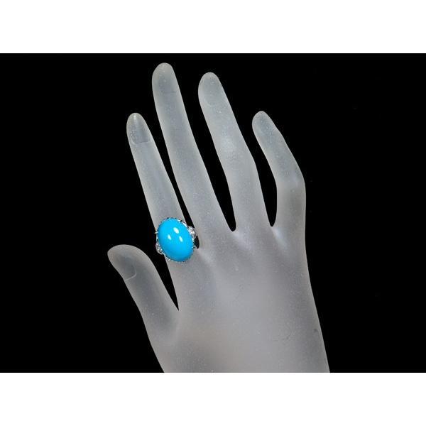 大粒 ターコイズ トルコ石 ダイヤ ダイヤモンド リング 指輪 Pt900/プラチナ ソーティング GENJ|greeber01|05