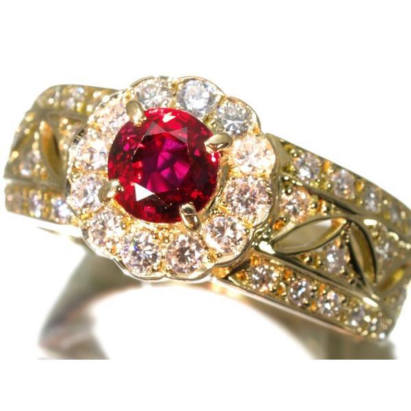 ルビー 0.62ct ダイヤ ダイヤモンド 0.46ct 指輪 K18YG  GENJ   超大幅値下げ品