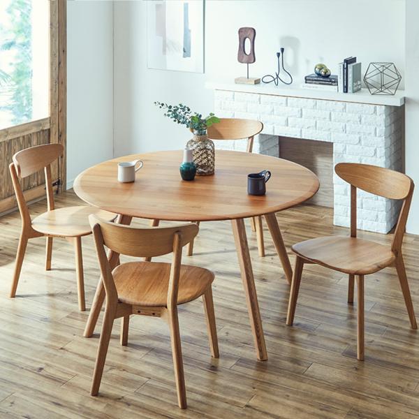 ダイニングセット 120cm-5点セット 丸テーブル ダイニングテーブルセット 120cm 4人掛け 円形 円卓 オーク無垢 木製 北欧