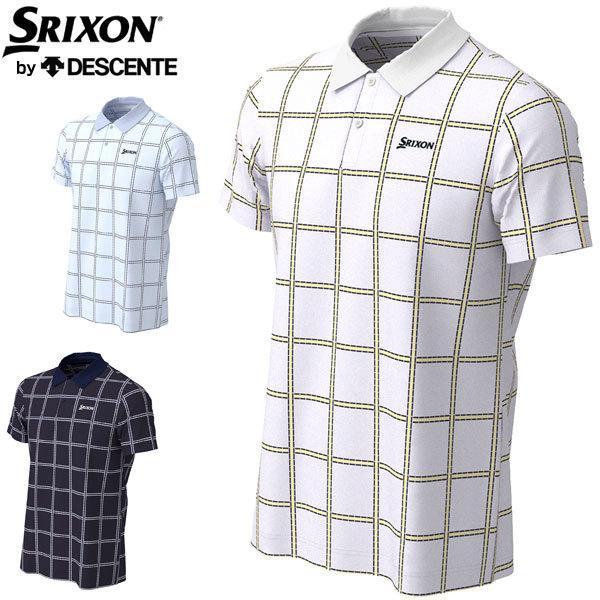 スリクソン by デサント メンズ ゴルフウェア クーリスト クロスストライププリント 半袖 ポロシャツ RGMPJA02