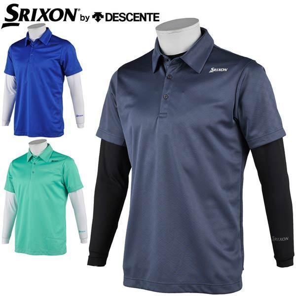スリクソン by デサント メンズ ゴルフウェア クロスエンボス 半袖ポロシャツ + モックネック 長袖インナーシャツ セット RGMRJA06W 2021年春夏モデル M-LL