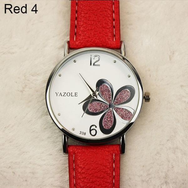 ファッションレザーストラップフラワー女性の時計 レディースクォーツ腕時計モントルフェムRelogio Feminino