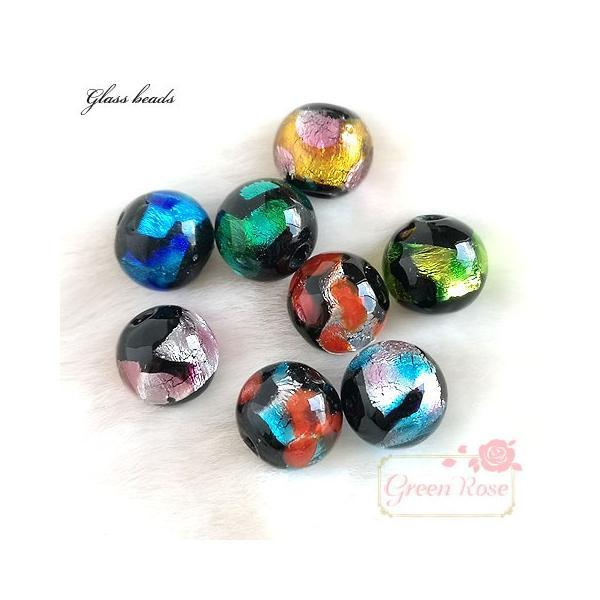 ガラスビーズ ホイル8mm 全8色 2個  2004 ステンド 和風 グラス 蛍玉   beads822