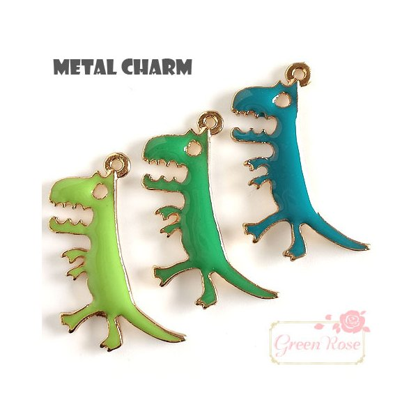 金属チャーム 恐竜 全3色 10個 男の子 キッズ 怪獣   2010 J6-4403