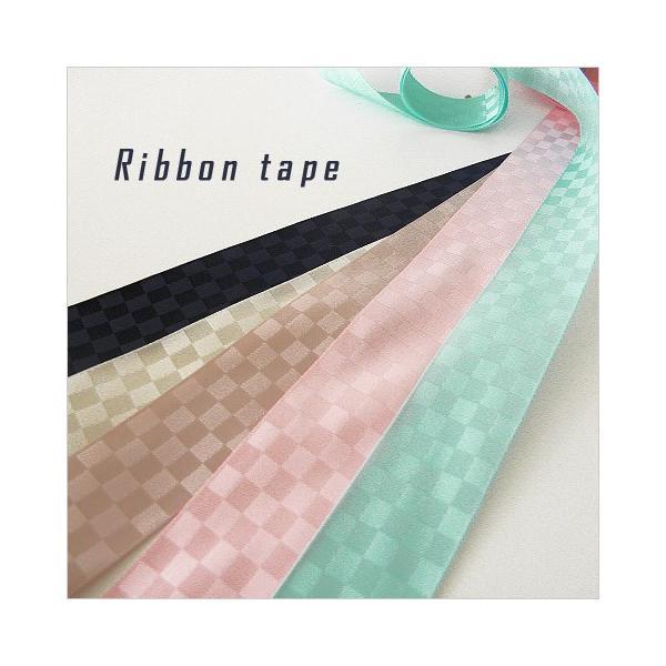 市松模様 リボンテープ チェック 25mm幅 1メートル  チェック   リボン 1609 Ribbontape021
