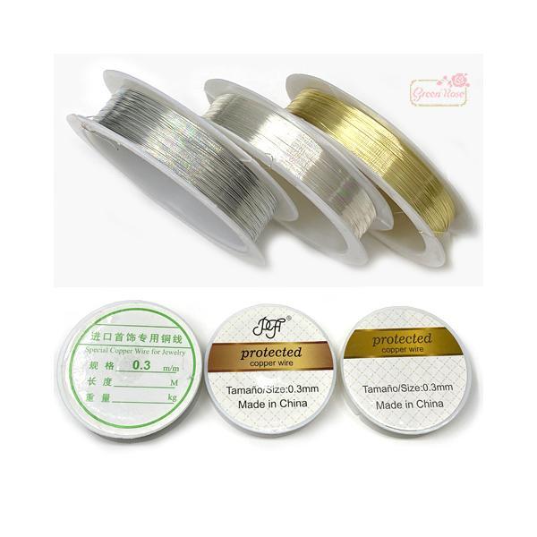 真鍮製ワイヤー ゴールド ピンクゴールド1巻 0.3mm 0.4mm 針金   2104 wire011