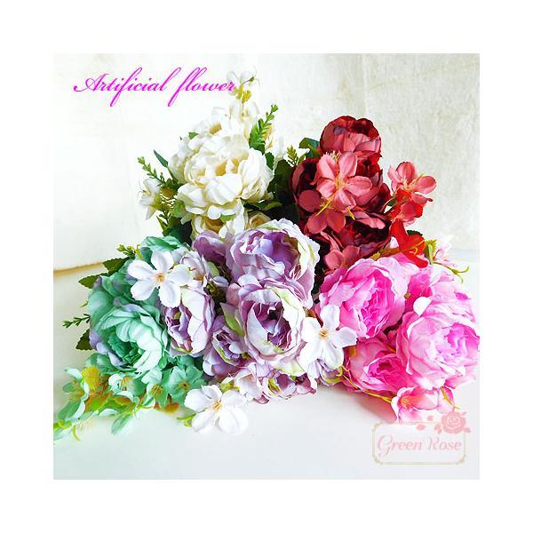【宅配便】インテリアの装飾に 茎付き造花 5色 1本  多弁花 花束 ブーケ ハーバリウム Z-49