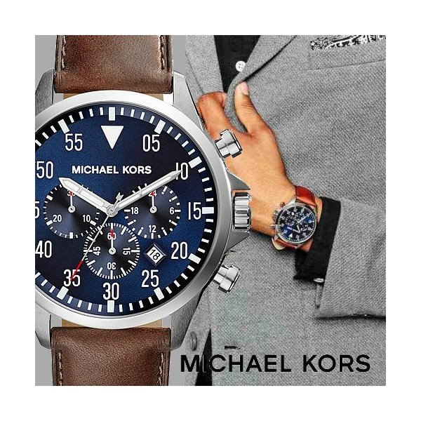 173486630872 マイケルコース 時計 クロノ メンズ 腕時計 ゲージ Michael Kors Gage MK8362 ミリタリー パイロットウォッチ ブラウンレザー  ...