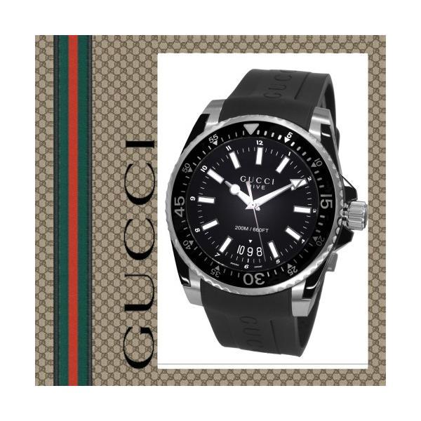 super popular a696f 19325 グッチ 時計 ダイブ ダイヴ メンズ 腕時計 Gucci Dive YA136204 ラバーベルト ダイバーベゼル カレンダー クオーツ