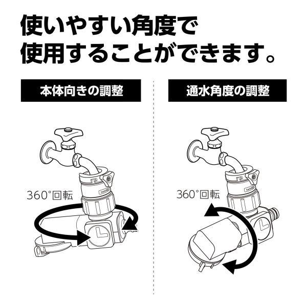 ホース 蛇口 アタッチメント 簡単 新製品 ラクロック蛇口分岐シャワー G1074GY 適合蛇口 外径16〜18ミリ takagi タカギ 安心の2年間保証|greentools|07