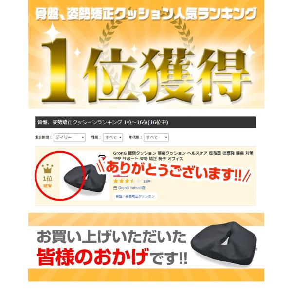 GronG 健康クッション 腰痛クッション ヘルスケア 座布団 低反発 対策 サポート 姿勢 椅子 オフィス|grong|02