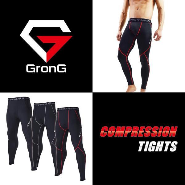 GronG スポーツタイツ メンズ ロング タイツ レギンス UVカット UPF50+ コンプレッションウェア アンダーウェア|grong|02