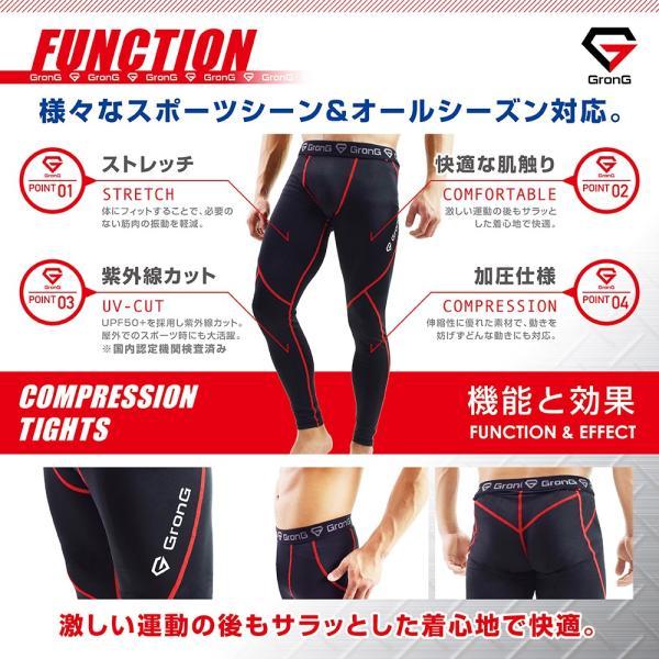 GronG スポーツタイツ メンズ ロング タイツ レギンス UVカット UPF50+ コンプレッションウェア アンダーウェア|grong|05