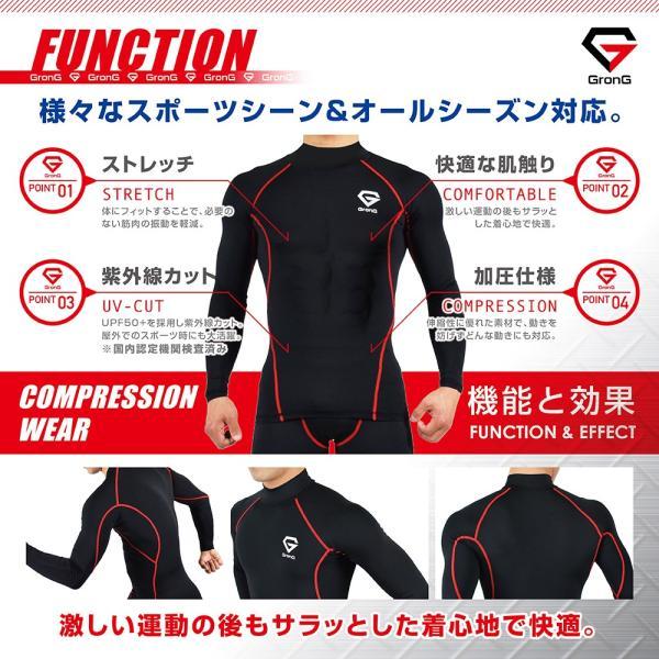 GronG コンプレッションウェア アンダーシャツ スポーツシャツ メンズ 長袖|grong|04