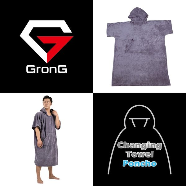 GronG お着替え ポンチョ タオル サーフィン 海水浴 マリンスポーツ フリーサイズ|grong|02