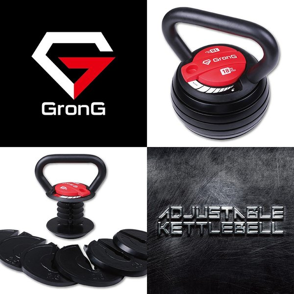 GronG 可変式 ケトルベル ダンベル 3.6kg〜18kg トレーニング マニュアル付|grong|02
