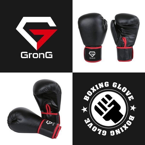 GronG ボクシンググローブ パンチンググローブ スパーリング トレーニング ミット打ち 10オンス 10oz 格闘技 練習 大人 女性 左右セット|grong|02
