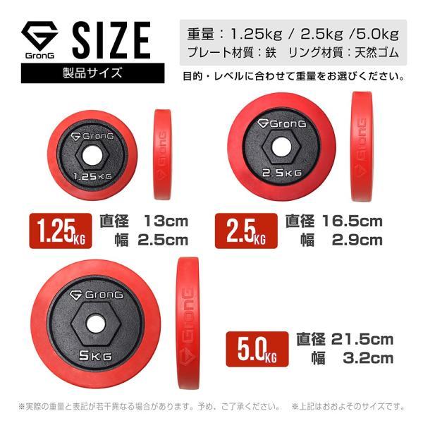 GronG アイアンダンベル プレート 追加 セット バーベル 1.25kg×2 計2.5kg ラバー付き シャフト径28mm|grong|02