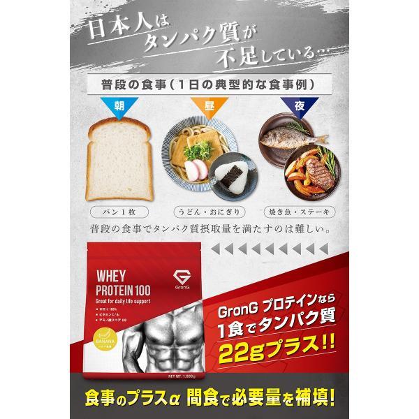 GronG プロテイン 3kg ホエイプロテイン 100 バナナ風味 おきかえダイエット 筋トレ 国産|grong|03