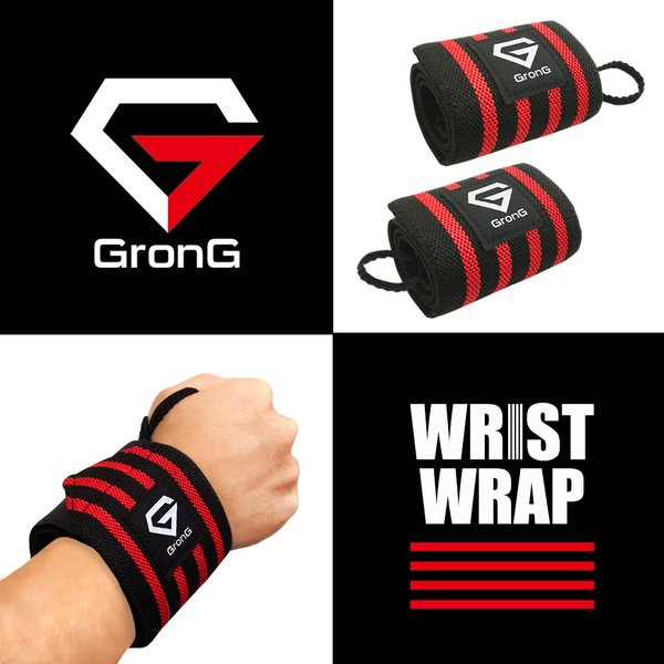 GronG リストラップ 手首サポーター トレーニング 約50cm 2枚組 3カラー|grong|02
