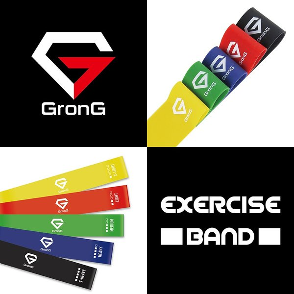 GronG トレーニングチューブ エクササイズバンド ループバンド 強度別 5本 セット|grong|02
