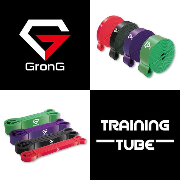 GronG トレーニングチューブ フィットネスチューブ トレーニングチューブ スポーツ ストレッチ エクササイズ 4本セット grong 02