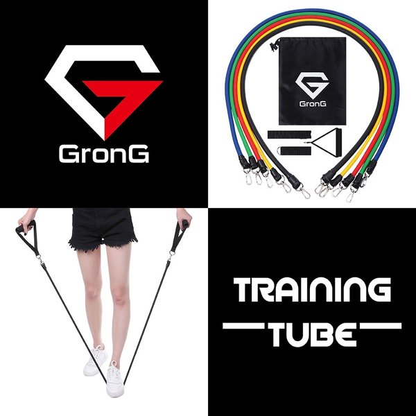 GronG トレーニングチューブ フィットネスチューブ エクササイズバンド 強度別5本セット|grong|02