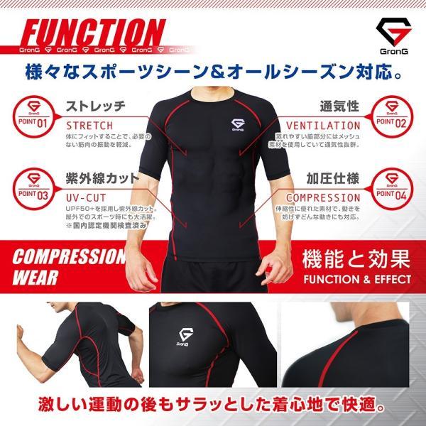 GronG コンプレッションウェア アンダーシャツ スポーツシャツ メンズ 半袖|grong|04
