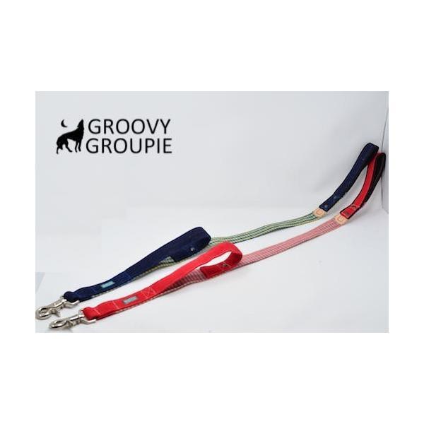 大型犬用 サイドグリップ付きリード アクリルミックス  ギンガムチェック&デニム 綿 <br>|groovygroupie