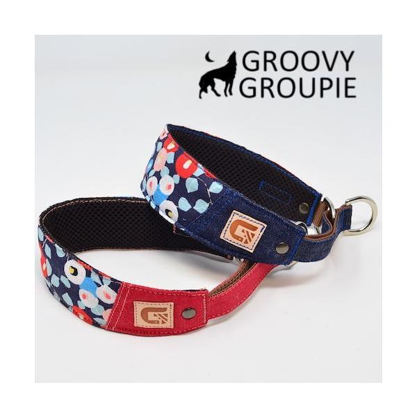 和柄 ボタン柄!ハーフチョーク【小型犬用】ミニピン・イタグレにぴったり! groovygroupie