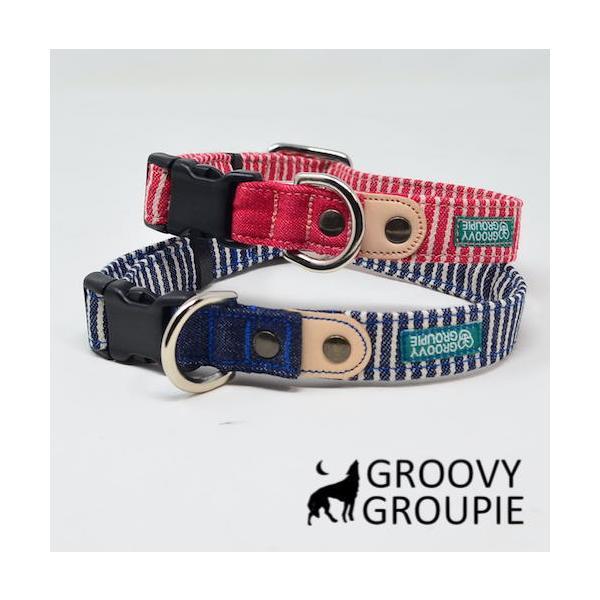 中型犬用【Mサイズ】首輪 ヒッコリー&デニム+レザー|groovygroupie