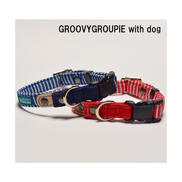 中型犬用【Mサイズ】首輪 ヒッコリー&デニム+レザー|groovygroupie|03