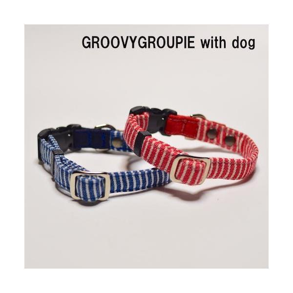 中型犬用【Mサイズ】首輪 ヒッコリー&デニム+レザー|groovygroupie|04