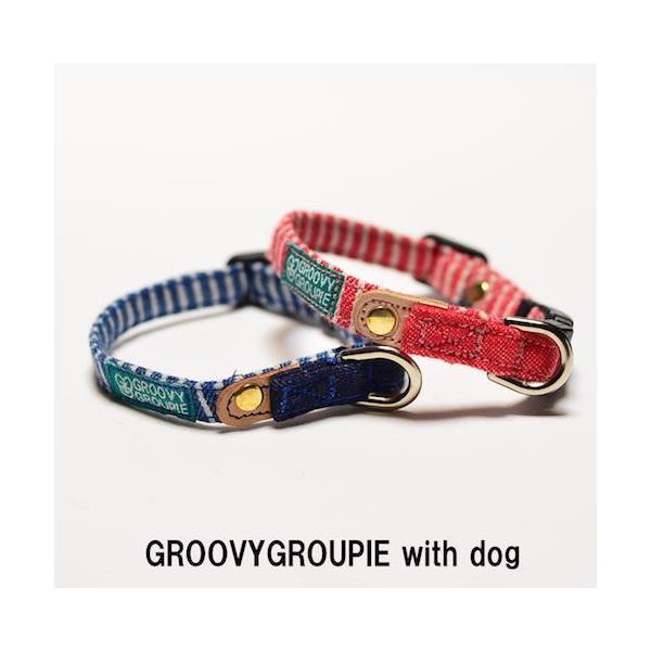 超小型犬用 首輪 ヒッコリーとデニム&レザー|groovygroupie