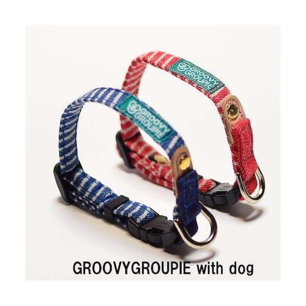 超小型犬用 首輪 ヒッコリーとデニム&レザー|groovygroupie|02